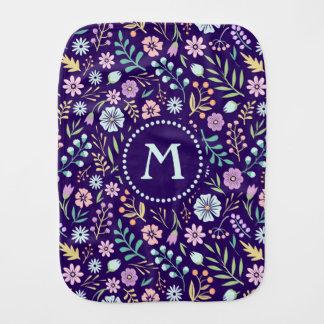 Monogram Floral Whimsical Boho Pattern Burp Cloth