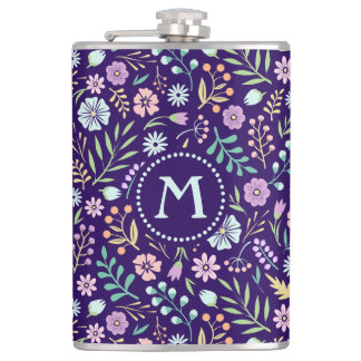 Monogram Floral Whimsical Boho Pattern Flask