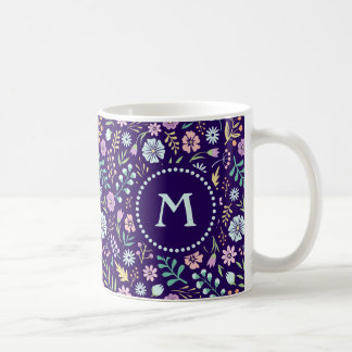 Monogram Floral Whimsical Boho Pattern Mug