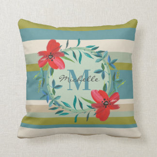 Monogram Floral with Green Teal Stripes Cushion
