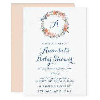 Monogram Floral Wreath Baby Shower Invitation