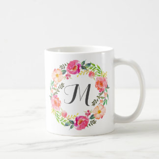 Monogram Floral Wreath,Bridesmaid-2 Coffee Mug