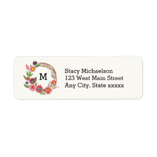 Monogram Floral Wreath Pretty Flowers Return Address Label