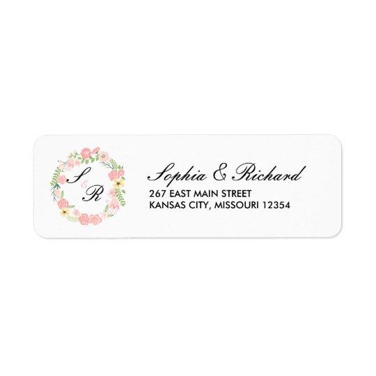Monogram Floral Wreath Wedding Address Label