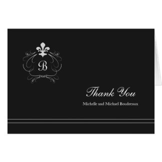 Monogram Florence Fleur de Lis Thank You Card