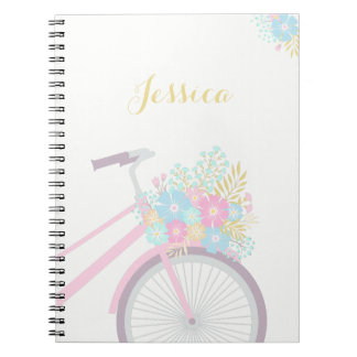 Monogram Flower Bicycle Notebook (80 Pages B&W)