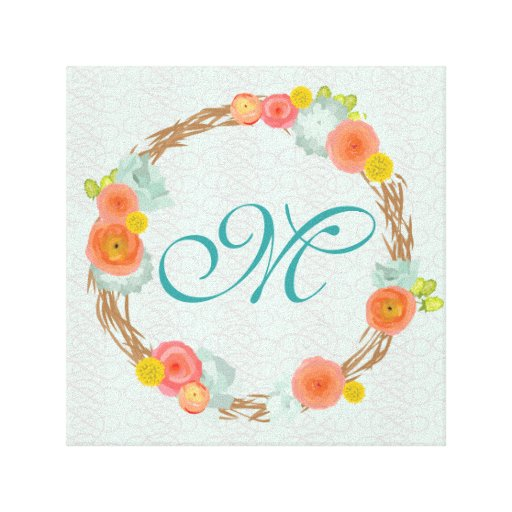 Monogram Flower Wreath Canvas Gallery Wrapped Canvas