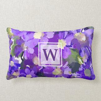 Monogram Flowers Purple Daisies Floral Botanical Lumbar Pillow