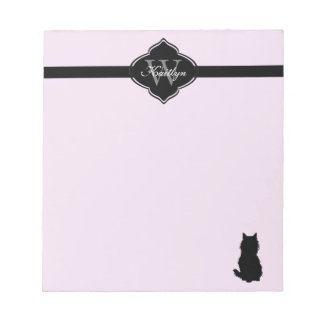 Monogram Fluffy Cat on Pink Notepad