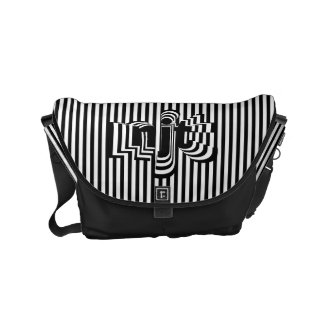 Monogram Font art - Black and White Striped Commuter Bags