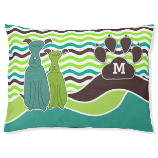Monogram for Dogs with Summery Waves and Paw