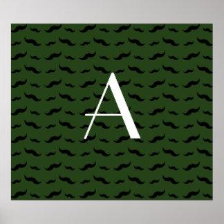 Monogram forest green mustache pattern poster