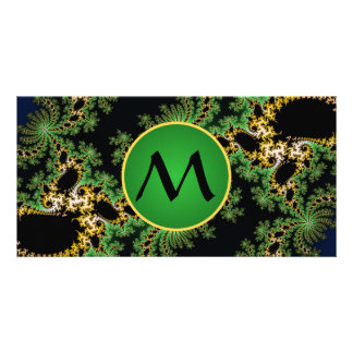 Monogram Fractal Forest - green, yellow and black Personalized Photo Card
