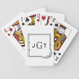 Monogram Frame Initials Boho Arrow Black White Playing Cards