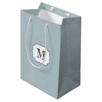 Monogram Frame on Pale Blue and Polka Dot Medium Gift Bag