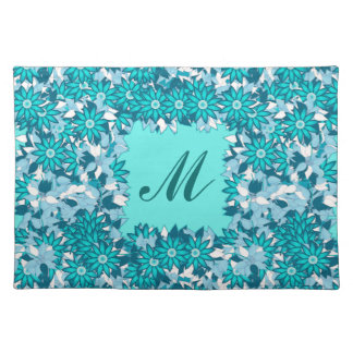 Monogram framed with flowers - blue and white placemat