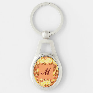 Monogram framed with flowers - cocoa & yellow Silver-Colored oval key ring