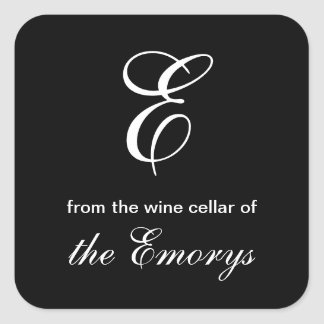 Monogram From the Wine Cellar of Square Labels Square Sticker