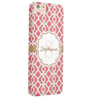 Monogram Fuchsia and Gold Quatrefoil Barely There iPhone 6 Plus Case