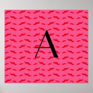 Monogram fuchsia pink mustache pattern poster