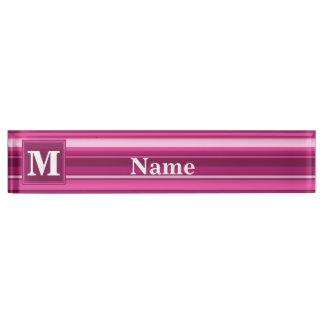 Monogram fuchsia stripes desk name plate