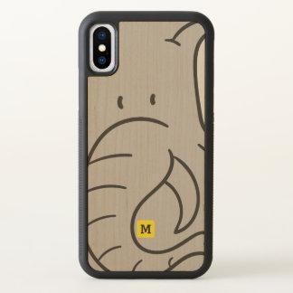 Monogram Funny Cute Doodle Elephant Safari Pattern iPhone X Case