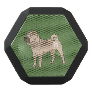 Monogram. Funny Cute Little Puppy Dog. Black Bluetooth Speaker