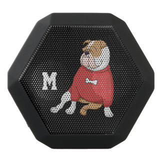 Monogram. Funny Cute Little Puppy Dog. Bulldog. Black Bluetooth Speaker