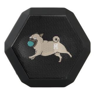Monogram. Funny Cute Little Puppy Dog. Pug. Black Bluetooth Speaker