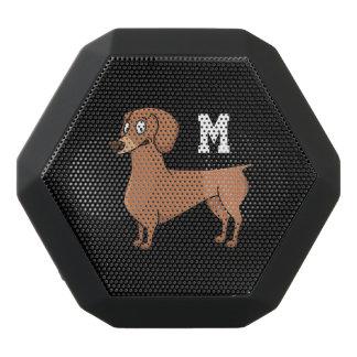 Monogram. Funny Cute Little Puppy Dog. Wiener Dog. Black Bluetooth Speaker