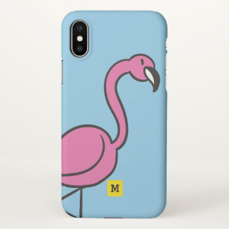 Monogram. Funny. Cute Pink Doodle Flamingo. iPhone X Case