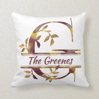 Monogram G - Watercolor - Personalised Cushion