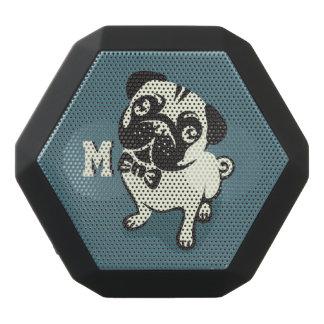 Monogram. Gentleman Pug with a Cute Bowtie. Black Bluetooth Speaker