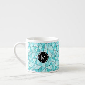 Monogram Geometric Cyan Triangles Modern Mug