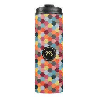 Monogram Geometric Hexagon Pattern Thermal Tumbler