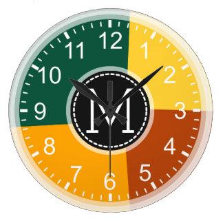 Monogram Geometric Modern Retro Colorful #9 Large Clock