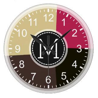 Monogram Geometric Modern Retro Colorful Large Clock