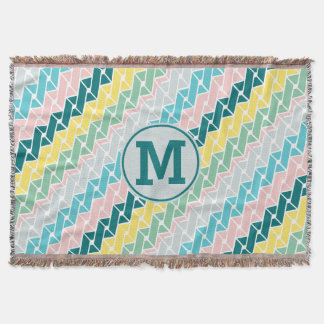 Monogram Geometric Pattern Teal Pink Mint Yellow Throw Blanket