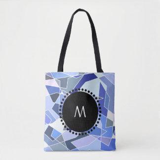 Monogram Geometry Triangles Tote Bag