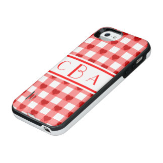 Monogram Gingham Hearts iPhone SE/5/5s Battery Case