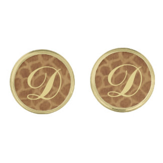 Monogram Giraffe Cufflinks Gold Finish Cuff Links