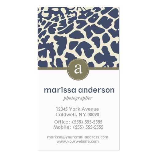 Monogram-Giraffe Pattern Business Business Card