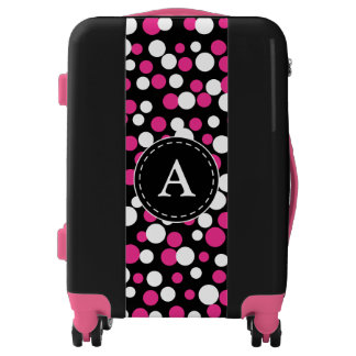 Monogram Girl's Pink Dots Luggage Suitcase Gift