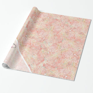 Monogram Girly Paisley Pink Elegant Floral Sketch Wrapping Paper