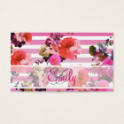 Monogram Girly Pink Floral Pattern Ombre Stripes Business Card