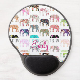 Monogram Girly Retro Floral Elephants Pattern Gel Mouse Pad
