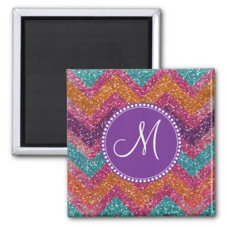 Monogram Glitter Chevron Pink Purple Orange Teal Magnet
