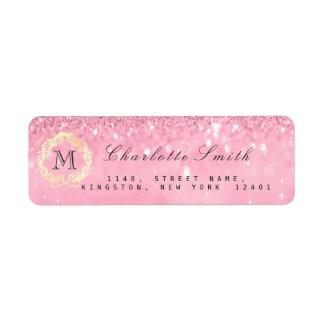 Monogram  Glitter Pink Gold Wreath RSVP Bridal Return Address Label