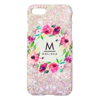 Monogram Glitter Rose Gold Zazzle iPhone 8/7 Case