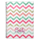 Monogram Glitter Teal Coral Emerald Red Chevron Notebook